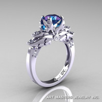 Classic Angel 14K White Gold 1.0 Ct Chrysoberyl Alexandrite Diamond Solitaire Engagement Ring R482-14KWGDAL-1