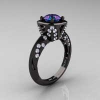 Classic French 14K Black Gold 1.0 Carat Chrysoberyl Alexandrite Diamond Engagement Ring Wedding RIng R502-14KBGDA-1
