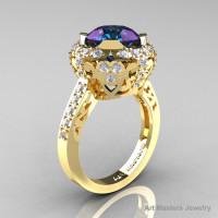 Modern Edwardian 14K Yellow Gold 3.0 Carat Alexandrite Diamond Engagement Ring Wedding Ring Y404-14KYGDAL-1