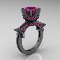 Modern Vintage 14K Gray Gold 3.0 Carat Pink Sapphire Solitaire Engagement Ring R253-14KGGPS-1
