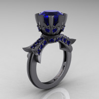 Modern Vintage 14K Gray Gold 3.0 Carat Blue Sapphire Solitaire Engagement Ring R253-14K GGBS-1