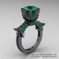 Modern Vintage 14K Gray Gold 3.0 Carat Emerald Solitaire Engagement Ring R253-14KGGEM-1