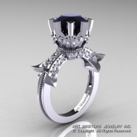 Modern Vintage 14K White Gold 3.0 Ct Black and White Diamond Solitaire Engagement Ring R253-14KWGDBD-1