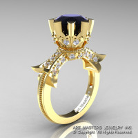 Modern Vintage 14K Yellow Gold 3.0 Ct Black and White Diamond Solitaire Engagement Ring R253-14KYGDBD-1