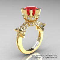 Modern Vintage 14K Yellow Gold 3.0 Ct Ruby Diamond Solitaire Engagement Ring R253-14KYGDR-1