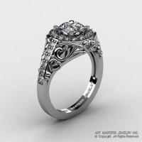 Italian 14K White Gold 1.0 Ct Cubic Zirconia Diamond Engagement Ring Wedding Ring R280-14KWGDCZ-1