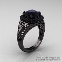 High Fashion 14K Black Gold 3.0 Ct Black Diamond Designer Wedding Ring R407-14KBGBD-1