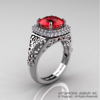 High Fashion 14K White Gold 3.0 Ct Ruby Diamond Designer Wedding Ring R407-14KWGDR-1