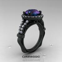 Caravaggio 14K Matte Black Gold 3.0 Ct Russian Alexandrite Diamond Engagement Ring Wedding Ring R620-14KMBGDAL-1