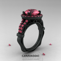 Caravaggio 14K Matte Black Gold 3.0 Ct Light Tourmaline Engagement Ring Wedding Ring R620-14KMBGLTU-1
