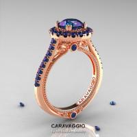 Caravaggio 14K Rose Gold 1.0 Ct Russian Alexandrite Engagement Ring Wedding Ring R621-14KRGAL-1