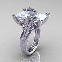 Modern Bridal 10K White Gold Radiant Cubic Zirconia Diamond Honeymoon Cocktail Ring R292-10KWGDCZ-1