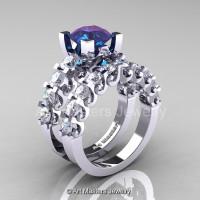 Modern Vintage 14K White Gold 3.0 Ct Alexandrite White Sapphire Designer Wedding Ring Bridal Set R142S-14KWGWSAL-1