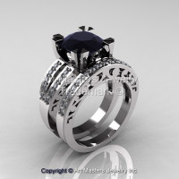 Modern Vintage 950 Platinum 3.0 Carat Black and White Diamond Solitaire Ring Wedding Band Set R102S-PLATDBD-1