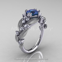 Nature Classic 14K White Gold 2.0 Ct Alexandrite Diamond Leaf and Vine Engagement Ring R340S-14KWGD2AL-1
