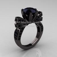 French 14K Black Gold 3.0 CT Black Diamond Engagement Ring Wedding Ring R382-14KBGBD-1