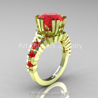 Modern 18K Green Gold 3.0 Ct Rubies Solitaire Wedding Anniversary Ring R325-18KGGR-1