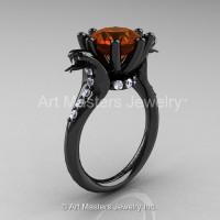 Art Masters Cobra 14K Black Gold 3.0 Ct Brown and White Diamond Engagement Ring R602-14KBGDBRD-1