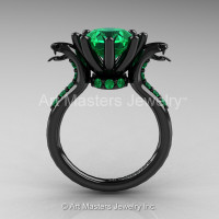 Art Masters Cobra 14K Black Gold 3.0 Ct Emerald Engagement Ring R602-14KBGBEM-1
