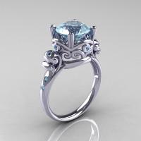 Modern Vintage 14K White Gold 2.5 Carat Aquamarine Wedding Engagement Ring R167-14KWGAQ - Perspective