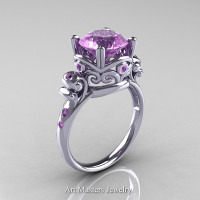 Modern Vintage 14K White Gold 2.5 Carat Lilac Amethyst Wedding Engagement Ring R167-14KWGLAM - Perspective