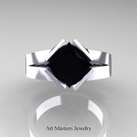 Neomodern 14K White Gold 1.5 CT Princess Black Diamond Engagement Ring R389-14KWGBD