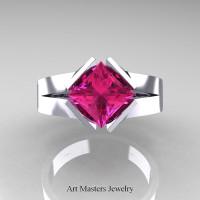 Neomodern 14K White Gold 1.5 CT Princess Pink Sapphire Engagement Ring R389-14KWGPS - Top