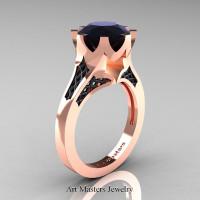 Modern Renaissance 14K Rose Gold 3.0 Carat Black Diamond Crown Solitaire Wedding Ring R580-14KTTRBGBD - Perspective