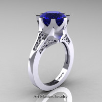 Modern 14K White Gold 3.0 Carat Blue Sapphire Crown Solitaire Wedding Ring R580-14KWGBS