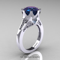 Modern 14K White Gold 4.0 Carat Chrysoberyl Alexandrite Crown Solitaire Wedding Ring R580-14KWGAL - Perspective