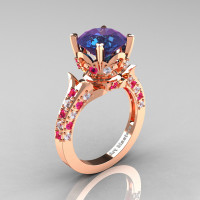 Classic French 14K Rose Gold 3.0 Carat Alexandrite Pink Sapphire Diamond Solitaire Wedding Ring R401-14KRGDPSSAL Perspective