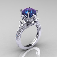 Classic French 14K White Gold 3.0 Carat Chrysoberyl Alexandrite Diamond Solitaire Wedding Ring R401-14KWGDAL Perspective