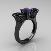 Nature Inspired 14K Black Gold 1.0 Ct Oval Chrysoberyl Alexandrite Black Diamond Bee Wedding Ring R531-14KBGBDAL Perspective