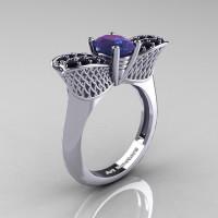 Nature Inspired 14K White Gold 1.0 Ct Oval Chrysoberyl Alexandrite Black Diamond Bee Wedding Ring R531-14KWGBDAL Perspective