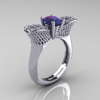 Nature Inspired 14K White Gold 1.0 Ct Oval Chrysoberyl Alexandrite Diamond Bee Wedding Ring R531-14KWGDAL Perspective