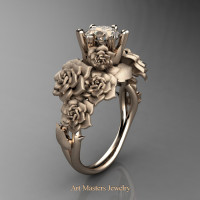Nature Inspired 14K Rose Gold 1.0 Ct Champagne Diamond Rose Bouquet Leaf and Vine Engagement Ring R427-14KRGSCHD