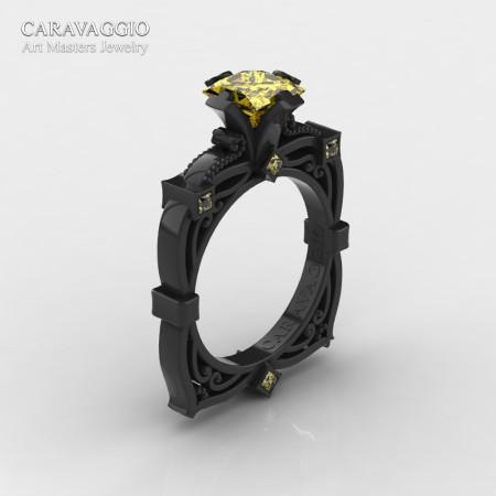 Art Masters Caravaggio 14K Black Gold 1.5 Ct Princess Yellow Sapphire Engagement Ring R630-14KBGYS