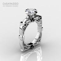 Art Masters Caravaggio 14K White Gold 1.5 Ct Princess White Sapphire Black Diamond Engagement Ring R630-14KWGBDWS