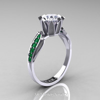 Cara 14K White Gold 1.0 Ct White Cubic Zirconia Emerald Solitaire Ring R423-14KWGEMCZ