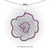 Classic 14K White Gold Lavender Amethyst Diamond Rose Promise Pendant and Necklace Chain P101M-14KWGDAM