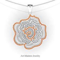 Classic 14K White Gold Orange Sapphire Diamond Rose Promise Pendant and Necklace Chain P101M-14KWGDOS