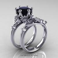 Modern Antique 14K White Gold 3.0 Carat Black and White Diamond Solitaire Wedding Ring Set R514S-14KWGDBD