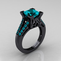 Caravaggio Classic 14K Black Gold 2.0 Ct Princess Blue Zircon Cathedral Engagement Ring R488-14KBGBZ