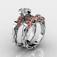 Art Masters Caravaggio 14K White Gold 1.25 Ct Princess White and Orange Sapphire Engagement Ring Wedding Band Set R623PS-14KWGOSWS