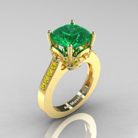 Classic 14K Yellow Gold 3.0 Ct Emerald Yellow Sapphire Solitaire Wedding Ring R301-14KYGYSEM