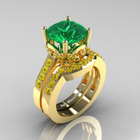 Classic 14K Yellow Gold 3.0 Ct Emerald Yellow Sapphire Solitaire Wedding Ring Set R301S-14KYGYSEM