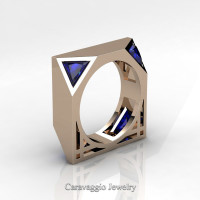 Mens Avant Garde 14K Rose Gold 1.0 Ct Triangle Royal Blue Sapphire Wedding Ring R349M2-14KRGBS