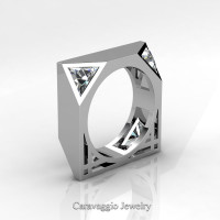 Mens Avant Garde 14K White Gold 1.0 Ct Triangle White Sapphire Wedding Ring R349M2-14KWGWS
