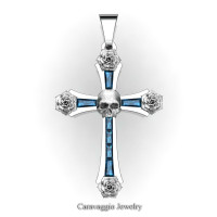 Caravaggio Bridal 14K White Gold Baguette London Blue Sapphire Rose Skull and Cross Pendant Wedding Jewelry C487S-14KWGLBS