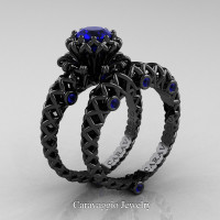 Caravaggio Lace 14K Black Gold 1.0 Ct Blue Sapphire Engagement Ring Wedding Band Set R634S-14KBGBS